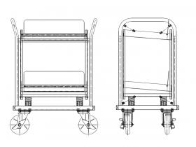 半導体工場などで使用される無振動台車 サイズ:1000×800×600mm